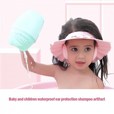 Babies shower cap, adjustable hat wash hair, newborn, ear , shampoo, bath head