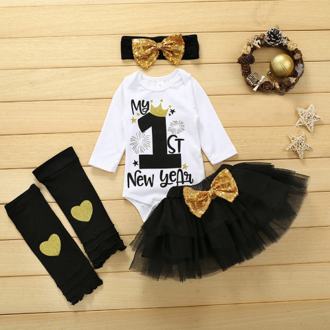 my first christmas girl newborn clothes Baby Girls One Year Old 1st New Year Birthday Stocking Set christmas deals детские вещи