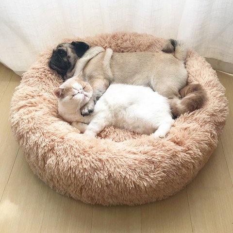 Super Soft Pet Bed Winter Warm Sleeping Bed for dogs Kennel Dog Round Cat Long Plush Puppy Cushion Mat Portable Cat Supplies