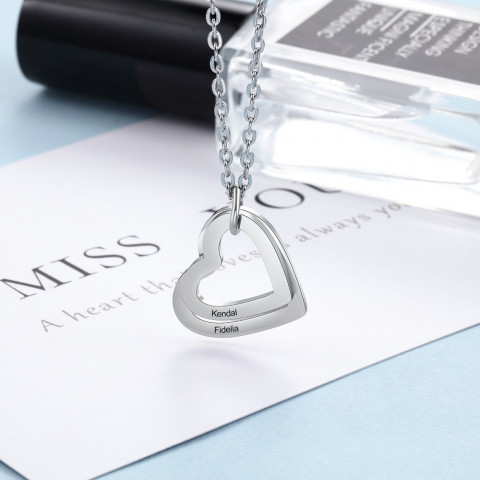 Personalized Engraved Name Necklace Stainless Steel Custom Heart Pendant Family Necklace Jewelry - Gifts