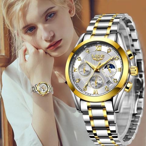 LIGE Luxury Ladies Watch Women Rose Gold Steel Strap Waterproof